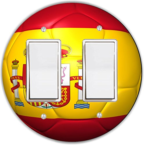 Rikki Knight RND-LSPROCKDBL-67 Spain Team World Cup Flag Soccer Ball Football Round Double Rocker Light Switch Plate by Rikki Knight