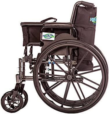 HEALTHLINE Lightweight Folding Transport Wheelchair, Ultra Light Manual Medical Wheelchair, Comfortable Detachable Full Arm and Removable Elevating Legrests, 20 Inch 51V4GIZTt2BL