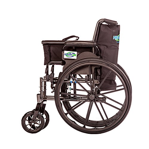 Lightweight Folding Wheelchair Detachable Full Arm and Removable/detachable Elevating Legrests By Healthline (20