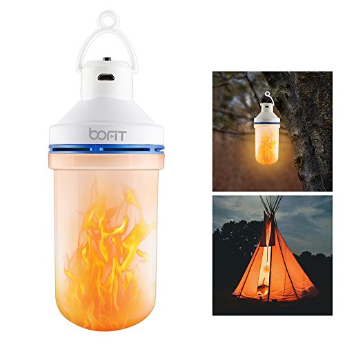 Portable LED Camping Flame Light Bulbs, BOFIT 5W Camping Lights Lantern Tent Light Bulb with Rechargeable 1200mAh Li-ion Battery, 10 Hours Lighting for Outdoor, Emergency, Home, Halloween Decoration Light Fire Battery