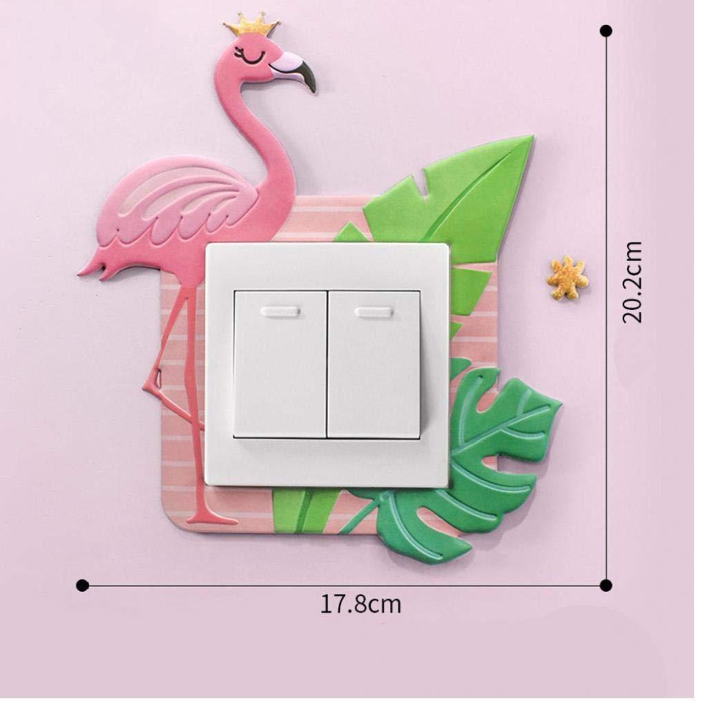 AMOYER Interruptor Preciosa Engomadas De La Pared para La Decoraci/ón del Sitio 3D del Unicornio De Flamenco Pared De Silicona De Encendido Y Apagado Luz De La Decoraci/ón