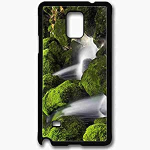 Unique Design Fashion Protective Back Cover For Samsung Galaxy Note 4 Case Mossy Waterfall Nature Black