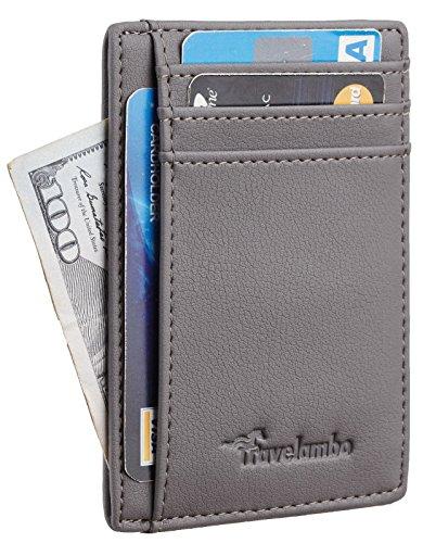 Travelambo Front Pocket Minimalist Leather Slim Wallet RFID Blocking Medium Size(Vipor Grey) -