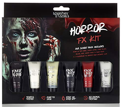 Horror Face Makeup (Splashes & Spills Halloween Horror FX Makeup Kit - 9 Piece Set with)