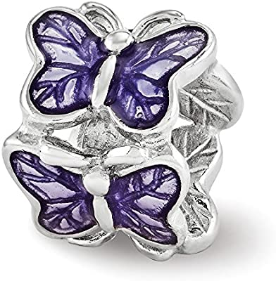 8.2mm x 10mm Solid 925 Sterling Silver Reflections Purple Enameled Butterfly Bead