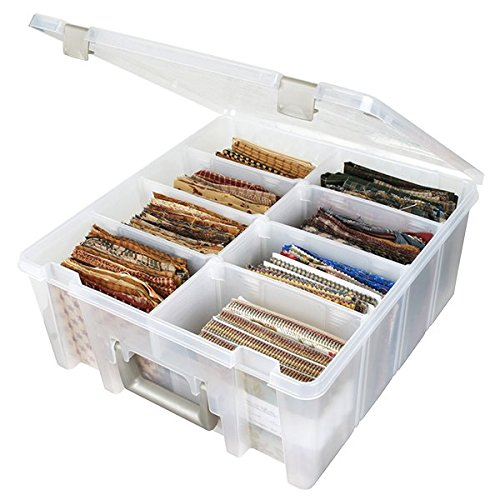 ArtBin 6990AB Super Satchel Compartment Box - Clear, Art and Craft Supplies Box with Removable Dividers, Secure Latches, Handles]()