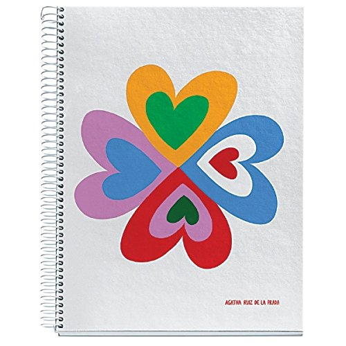 Flower Prada - Agatha Ruiz De La Prada for Miquelrius Hardcover Notebook, Heart Flower (8.5