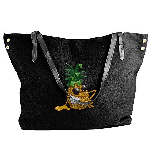 Bags Yellow Handbags Women Shoulder Canvas Black Large Bags Black Fashion Capacity Cartoon Handbags Hobo Pineapple Tote Oqwxdpap1