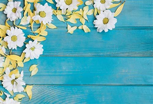 (Leyiyi 10x6.5ft Spring Flowers on Wooden Board Backdrop Flower Petals Banner Wedding Ceremony Background Kids Birthday Baby Shower Wedding Valentine's Day Bridal Portrait Studio Prop Vinyl)