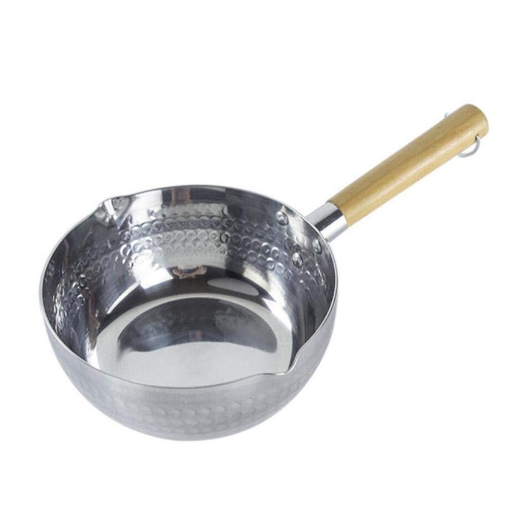 Aluminum Durable Heating Milk Soup Pot Stockpot Nonstick Sauce Pan Wooden Handle Saucepan Noodle Milk Pan Anti-scalding Snow Pan Flat Bottom Cooking Pot Kitchen Cookware Portable Cooking Tool (16cm)