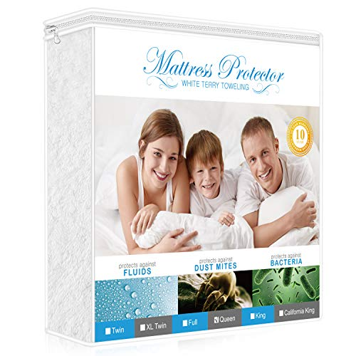 AdorioPower Premium Mattress Protector Queen Size, 100% Waterproof Hypoallergenic Mattress Cover Cotton Terry Surface, Vinyl Free Breathable
