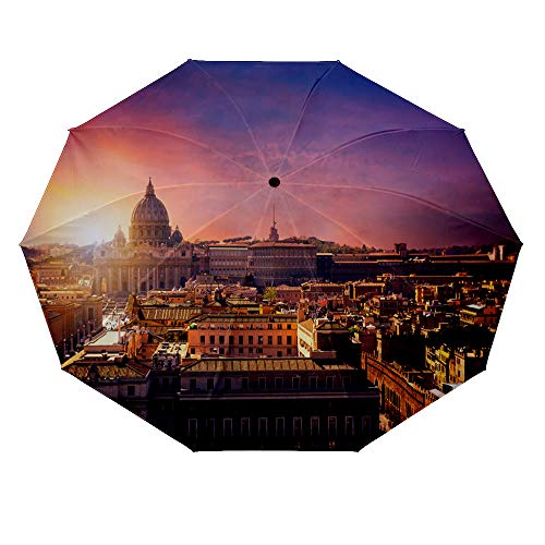 10 ribs multi-function automatic on/off - sun protection - rainproof - windproof umbrella, theme - Vatican city St Peters Basilica Panoramic view of Rome and St Peters Basilica Italy