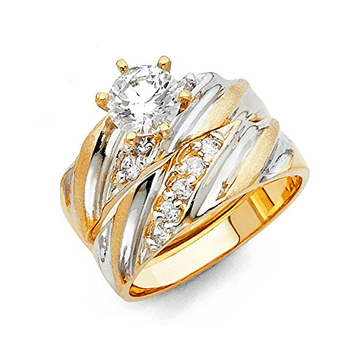 olid 14k Two 2 Tone White and Yellow Gold Polished CZ Cubic Zirconia Round Cut Engagement Ring with Side Stones and Wedding Band, 2 Piece Matching Bridal Set - Size 6.5 ()