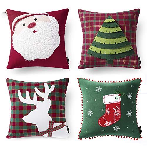 Phantoscope New Merry Christmas 100% Cotton Embroidery Santa Tree Socks Reindeer Throw Pillow Case Cushion Cover 18 x 18 45cm x 45cm Set of 4