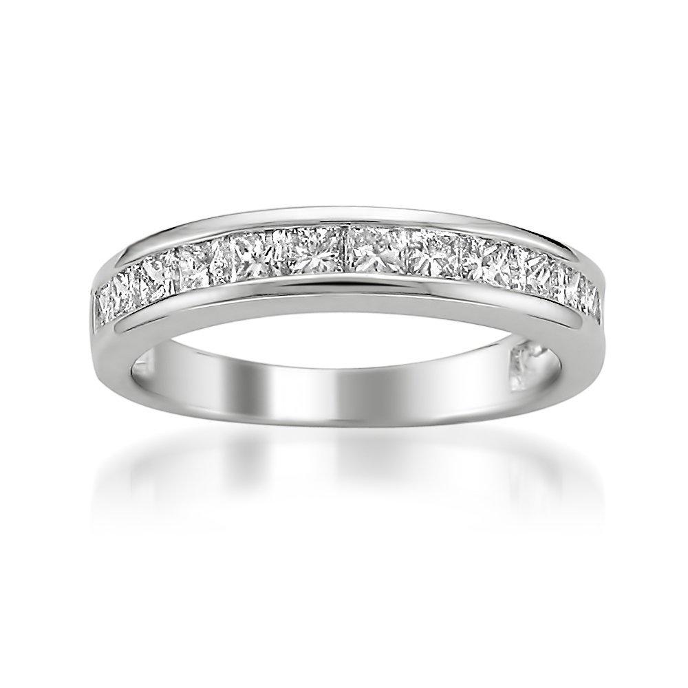La4ve Diamonds 14k White Gold Princess-cut Diamond Bridal Wedding Band Ring (1 cttw, I-J, I2-I3), Size 6.5