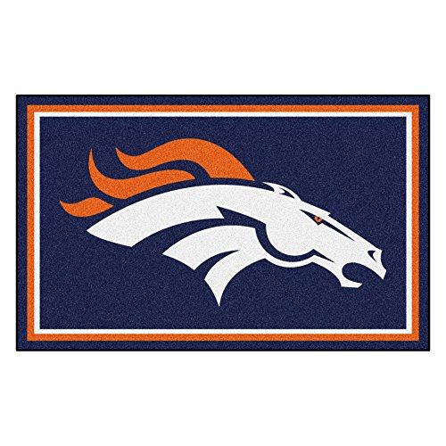 FANMATS NFL Denver Broncos Nylon Face 4X6 Plush Rug ()