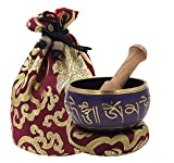 DharmaObjects ~ Tibetan OM MANI Singing Bowl Set ~ With Mallet, Brocade Cushion & Carry Bag ~ For Meditation, Chakra Healing, Prayer, Yoga (Purple)