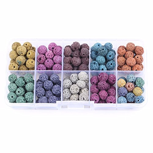 Lava Beads Rock Stone for Jewelry Making Charms Findings Kits Accessories(Mix Color)