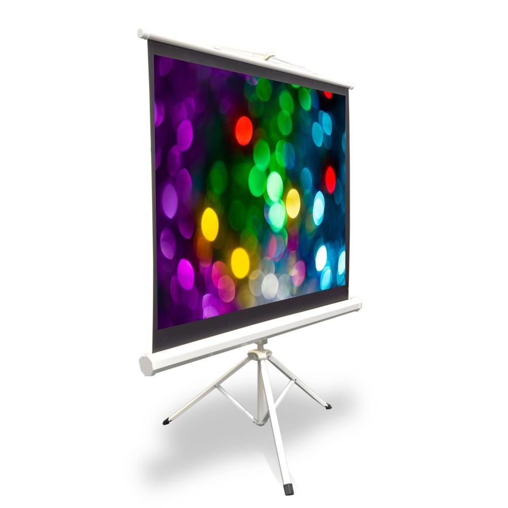 Upgraded Pyle 50'' Projector Screen with Floor Standing Portable Fold-Out Roll-Up Tripod Manual, Mobile Movie Screen, Home Theater Cinema Wedding Party Office Presentation, Quick Assembly (PRJTP52)