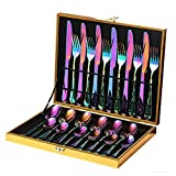 24-Piece Rainbow Color Flatware Set, Stainless Steel Titanium Colorful Plated Set, Dinner Knives Forks Teaspoons Silverware Cutlery Set Service for 6