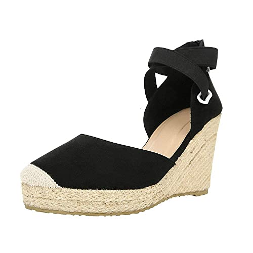 b62f0cf4adf LAICIGO Women's Espadrille Wedge Sandals Platform Elastic Band Closed Toe  Summer D'Orsay Shoes