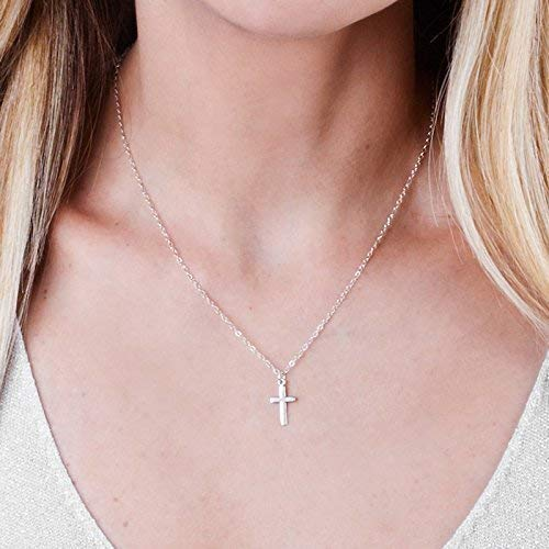 Simple Sterling Silver Cross Necklace - 16 inch + 2 inch extending chain - Designer Handmade Christian Minimal Jewelry