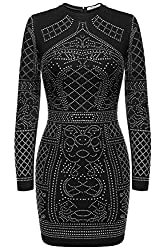 Women's Rhinestone Embellished Long Sleeve Cocktail Dresses