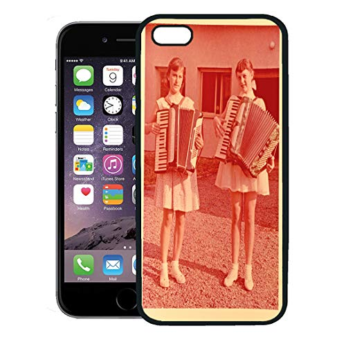 Semtomn Phone Case for iPhone 8 Plus case,Red Vintage Zvolen Czechoslovakia Circa 1955 Two Young Girls Playing The Accordion 1960Sfashion iPhone 7 Plus case Cover,Black ()