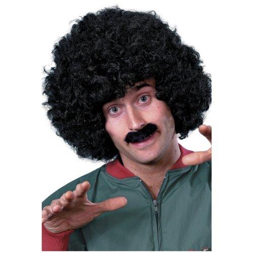 Smiffys Men's 80's Afro and Moustache Set, Black,