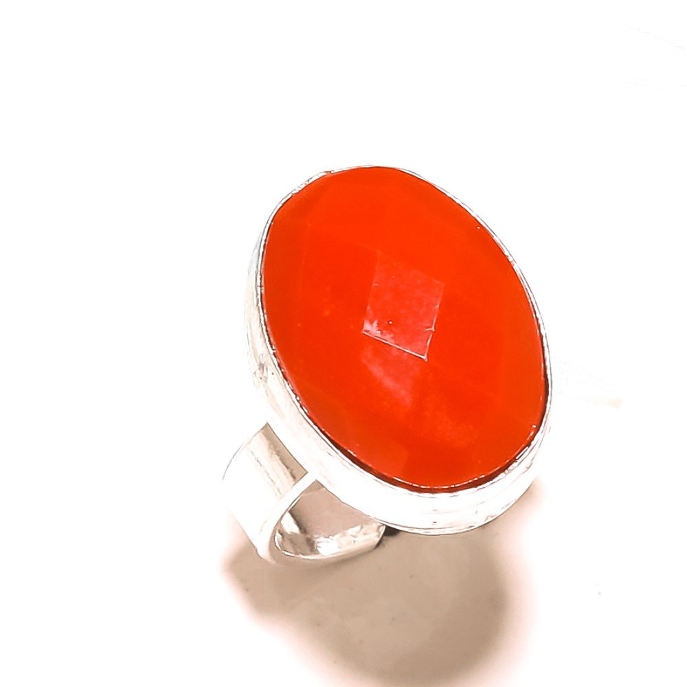 Sizable Gift Jewelry Handmade Jewelry Cut Red Onyx Sterling Silver Overlay Ring Size 6.5 US