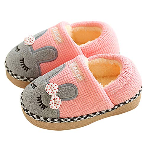 Girls Bunny Slippers, Kid's House Indoor Warm Bunny Shoes, Cute Winter Warm Baby Fur Lined Fluffy Hard Soles Slippers for Boys - 1720 Pink -