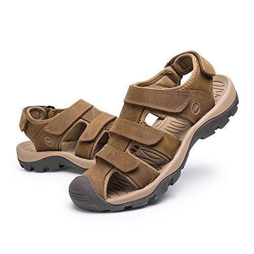 Antiscivolo Resistenti Grip Sandali Camminare in per Viaggiare Robusto Marrone Scarpe Chiaro Scarpe Casual Pelle AwRYHX