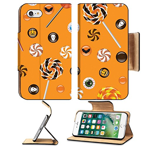 Liili Premium Apple iPhone 7 Flip Pu Leather Wallet Case ID: 22238118 Seamless background with Halloween sweets candies Treat or (Scary Dessert Ideas For Halloween)