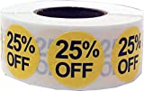 25% Percent Off Stickers Yellow With Black Lettering 3/4 Inch 500 Adhesive Labels