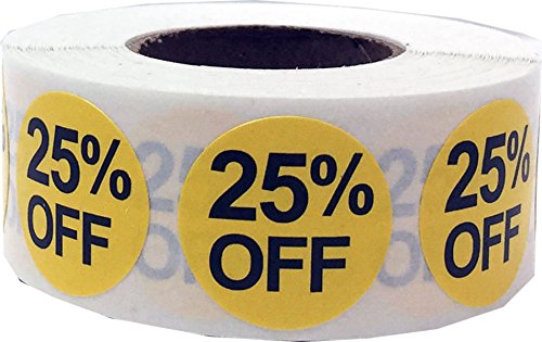 InStockLabels 25% Percent Off Stickers 3/4 Inch 500 Adhesive Stickers, Yellow With Black Lettering