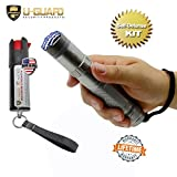 Self-Defense Weapons Kit - Taser Pepper Spray Combo - Tactical Stun Gun With Pocket Pepper Spray Non Lethal Personal Protection Devices – Police Tazors Color Option High Lumen Flashlight Tazer (GREY)