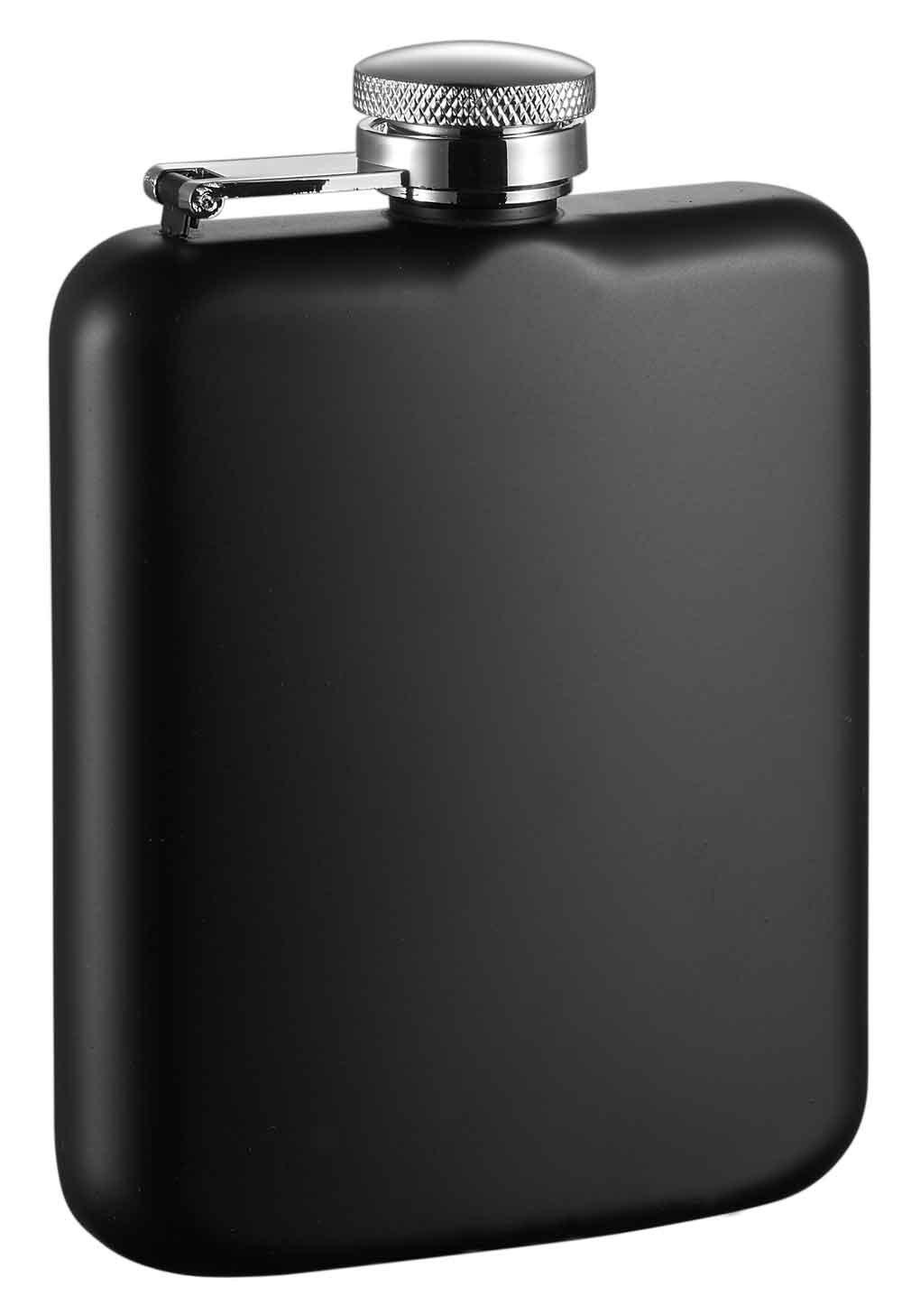 Visol Podova Stainless Steel Liquor Flask Black Matte VF1187BK 6 oz