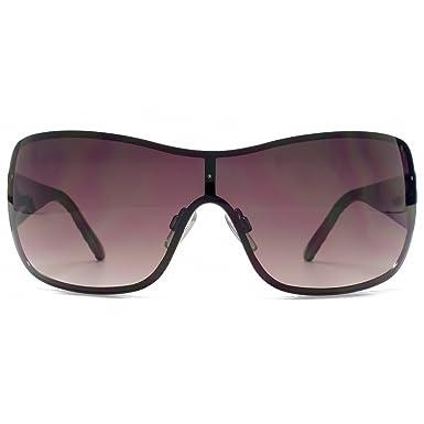 4cf28ce5cd9 Karen Millen Wrapped Visor Sunglasses in Dark Gunmetal KML173   Amazon.co.uk  Clothing