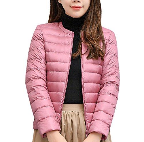 Ultra Doudoune Lger Pink Longue Femme d'hiver Manche Rond Quibine Col Blouson n8wOxTqTdP