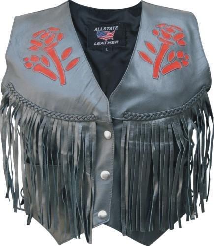 Ladies Red Rose Vest with fringe, braid, & side laces Red Rose Leather Vest Fringe