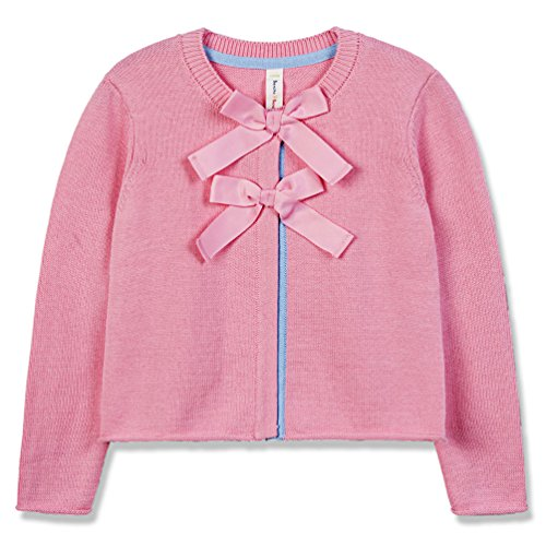(Benito & Benita Girls Cardigan Little Girl Cardigan Sweaters with Front Bows Long Sleeve Knitted Outwear Pink )