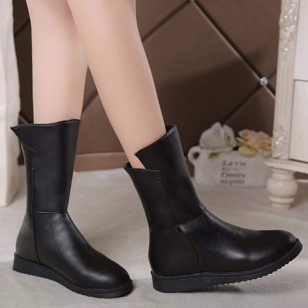KOKQSX-Frauen - Stiefel flachen Boden runden Schuhe Kopf Schuhe Mode Schuhe runden 16d6eb