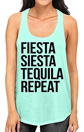Junior's Fiesta Siesta Tequila Repeat Tee B582 PLY Mint Green Racerback Tank Top X-Large