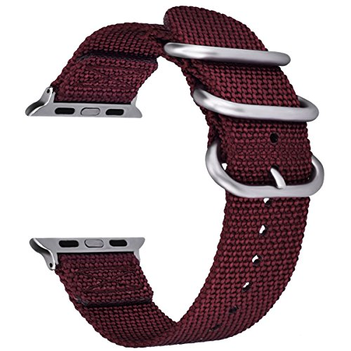 - VIGOSS Bands for 40mm Apple Watch Band 38mm Women, Woven Nylon NATO iWatch Bands Soft Replacement Strap with Metal Buckle Bracelet for Apple Watch Series 4 3 2 1 Sport (Maroon,38mm/40mm)