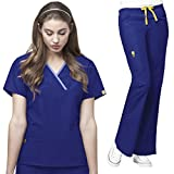 WonderWink Origins Womens Y-Neck Top & Flare Pant Scrub Set Socks