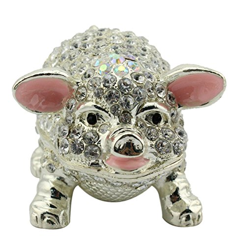 znewlook Crystal Pig Jewelry Jewelry Trinket Box ()