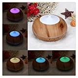Buedvo Essential Oil Diffuser, 300ml Wood Grain Aroma Diffuser with Cool Mist and Light Control, Timer