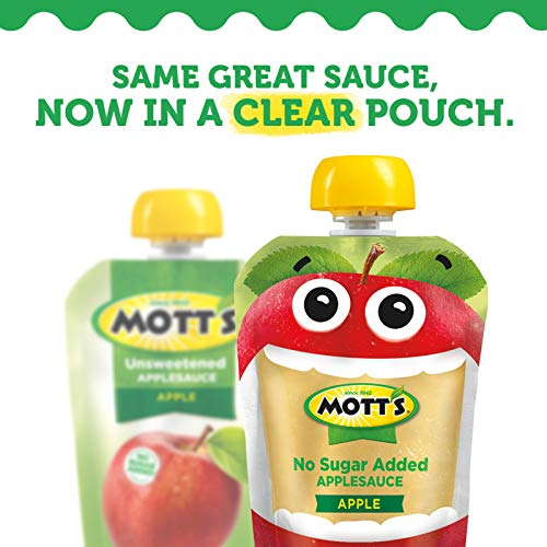 Mott's No Sugar Added Mixed Berry Applesauce, 3.2 Ounce (Pack of 24) Clear Pouch, 4 Count, Perfect for on-the-go, No Added Sugars or Sweeteners, Gluten Free and Vegan