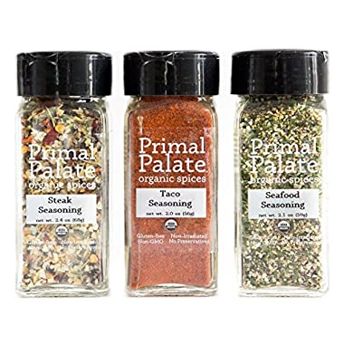 Primal Palate Organic Spices - Griddle and Grill Pack 3-Bottle Gift Set