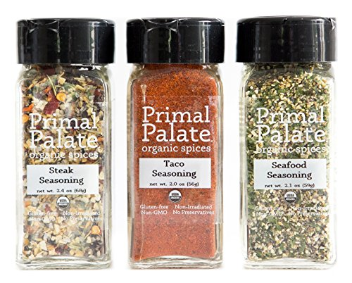 Primal Palate Organic Spices - Griddle and Grill Pack 3-Bottle Gift Set (Steak Gift Packs)